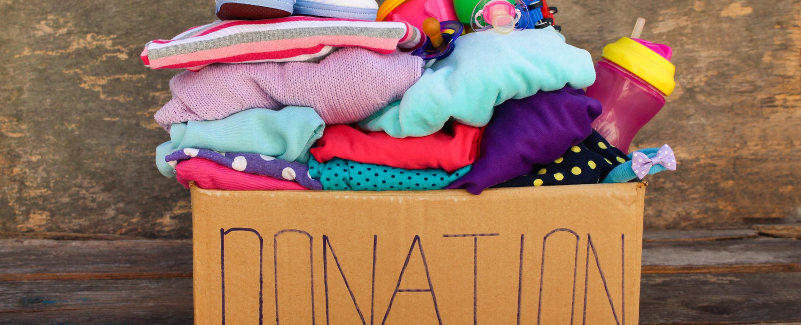 Photo of box of clothing for donation
