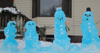 Snowmen painted blue.