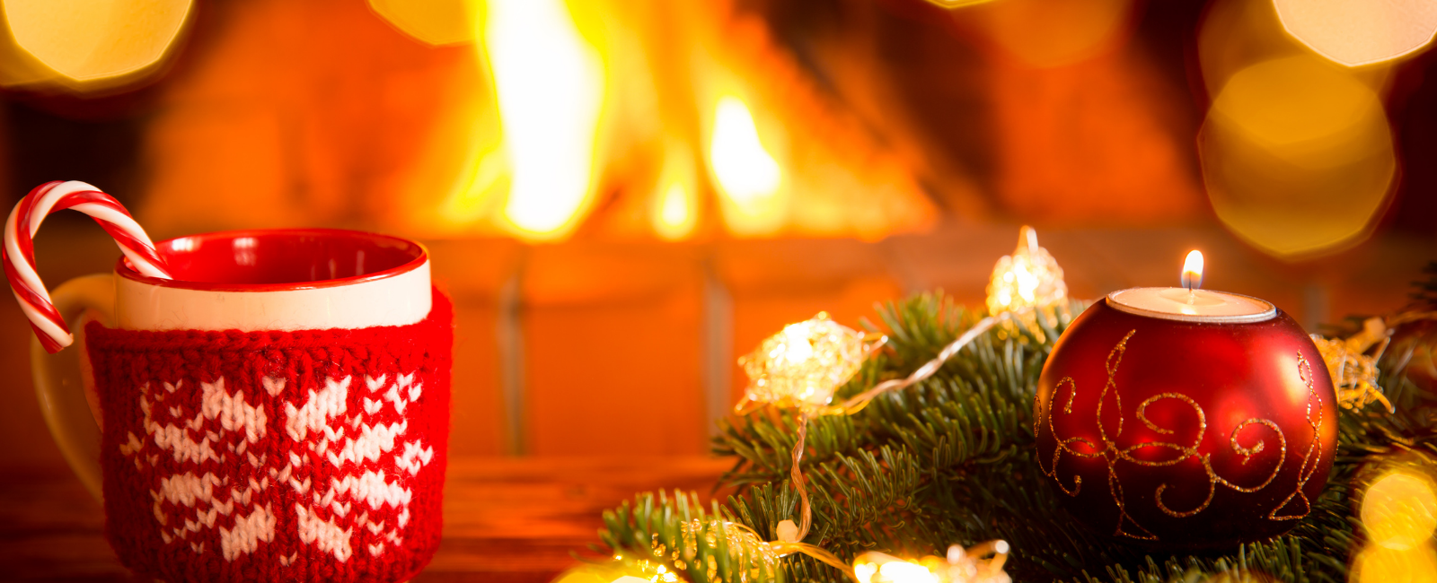 Holiday scene with fire in background.